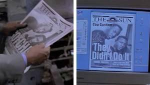 As primeiras páginas do jornal The Sun no filme The Paper.